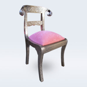 embossed white metal chair