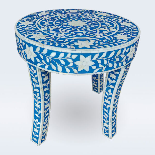 Bone inlay floral stool