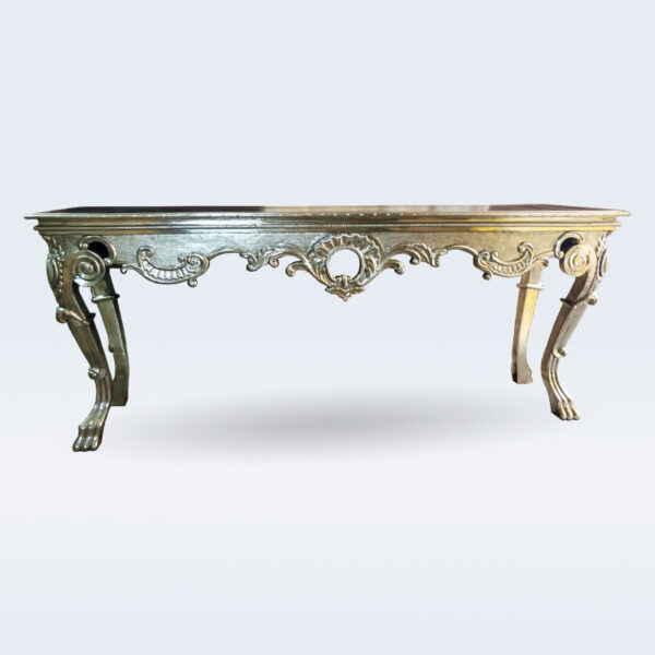 White metal carved console table