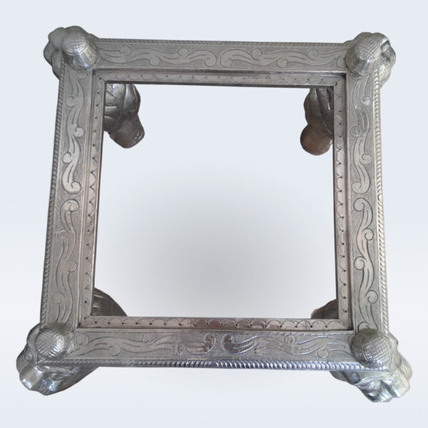White metal carved end table