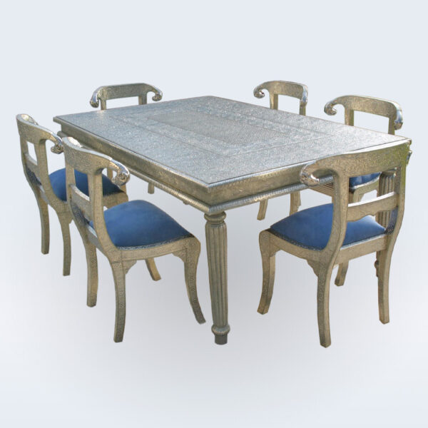 White metal embossed dining table