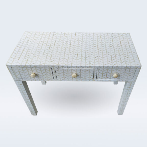 bone inlay 3 drawer console table