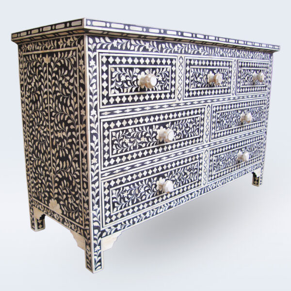bone inlay 7 drawer handmade dresser
