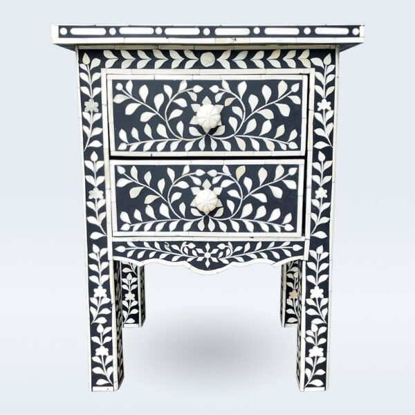 bone inlay black end table