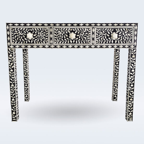 bone inlay black console table