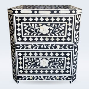 bone inlay floral bedside