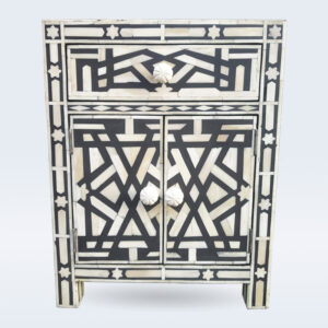 bone inlay geometrical bedside