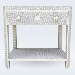 bone inlay grey night stand