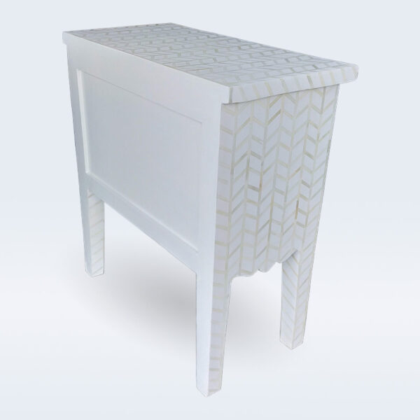 bone inlay white handmade bedside