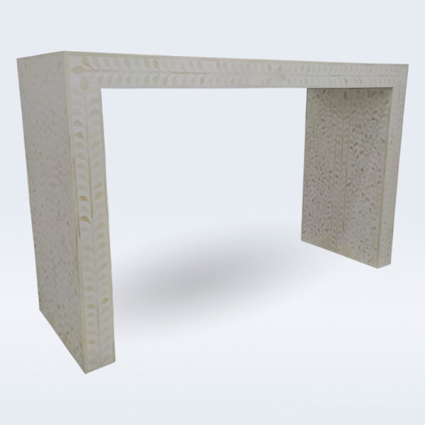 bone inlay white console table