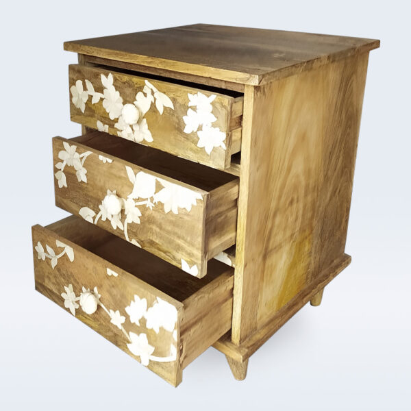 wood bone inlay 3 drawer bedside
