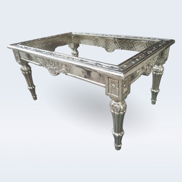 silver handicraft glass top coffee table