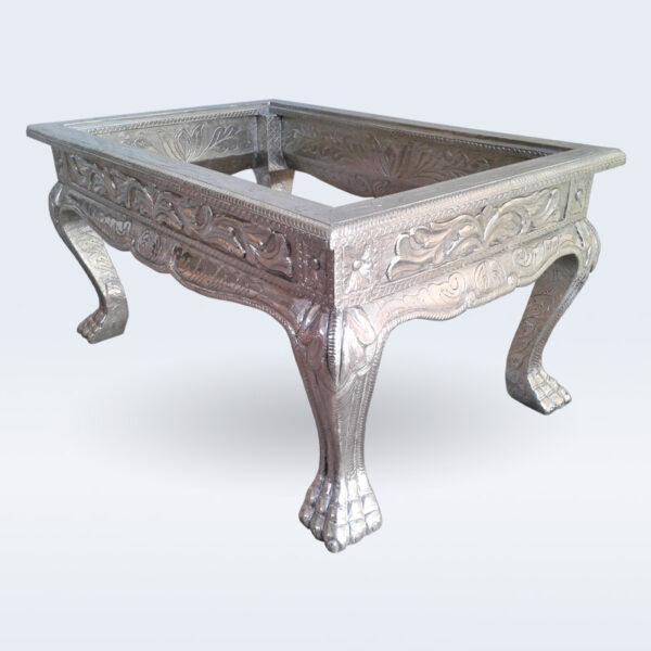 white metal carved center table