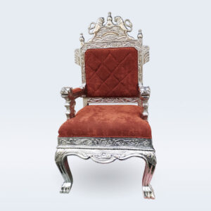 white metal carved throne chair