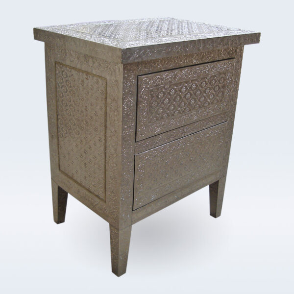 white metal embossed bedside
