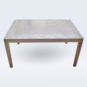 white metal embossed center table