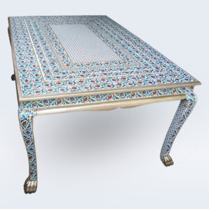 white metal meenakari handicraft dining table
