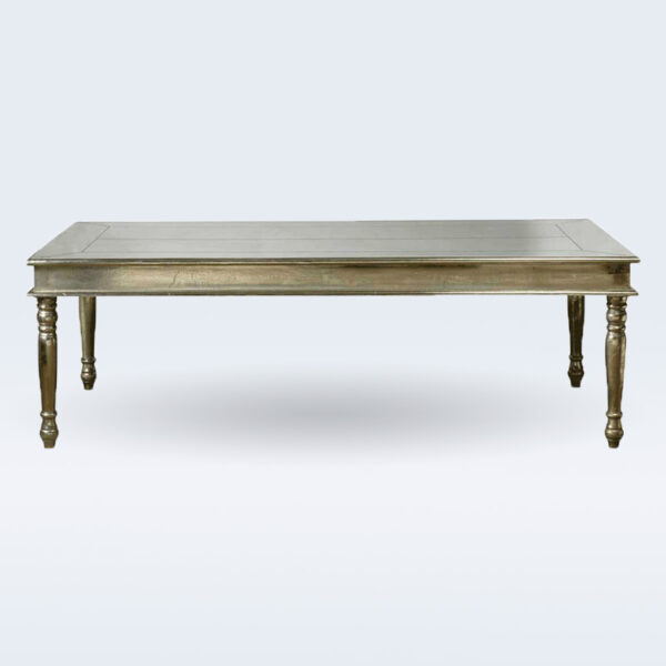 white metal plane dining table