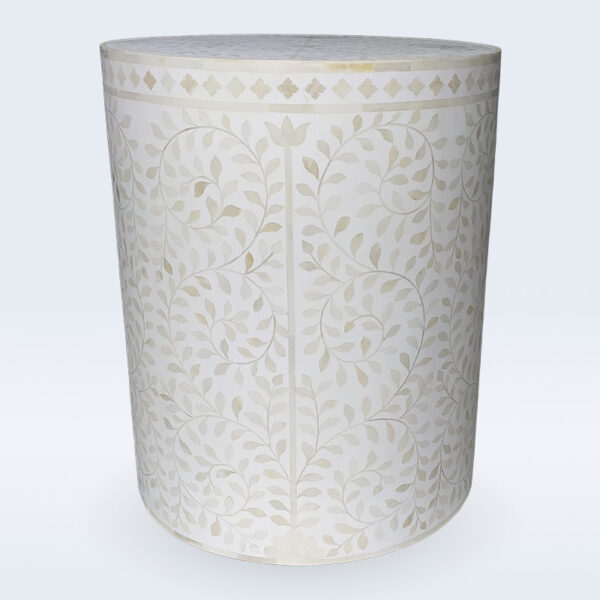 bone inlay floral side table