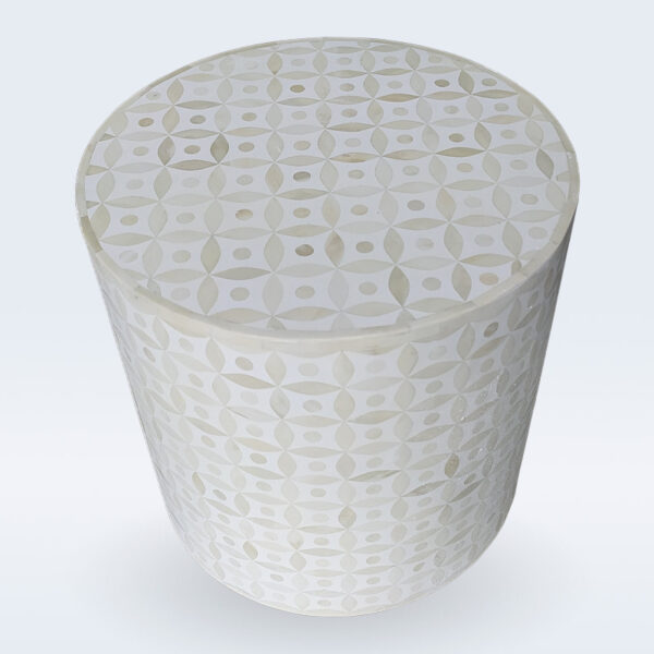 bone inlay eye geometrical side table