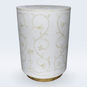bone inlay white side table