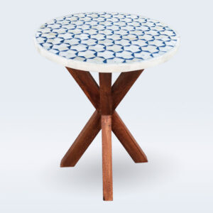 bone inlay wooden base side table