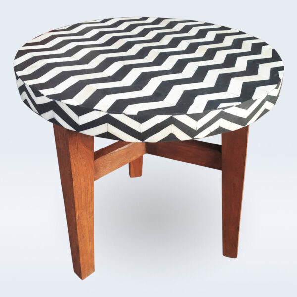 bone inlay wooden base stool