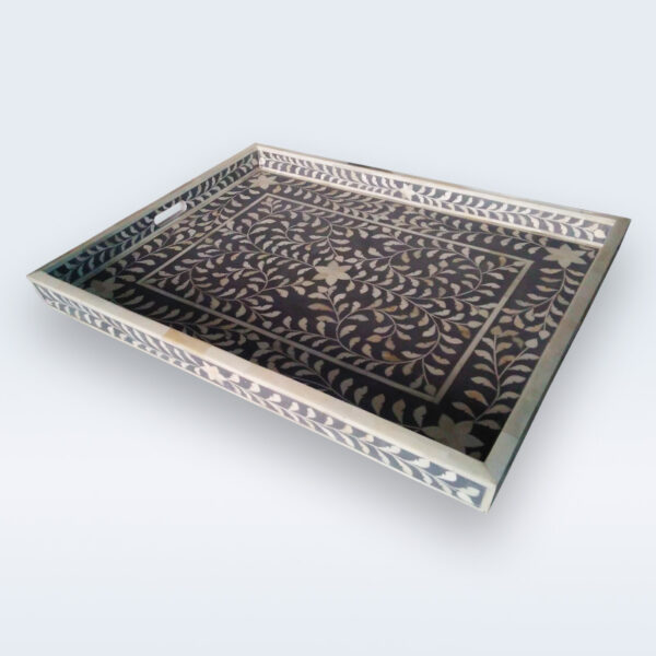 Indian bone inlay serving tray