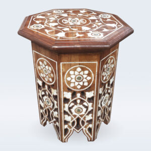 mop wood inlay side table