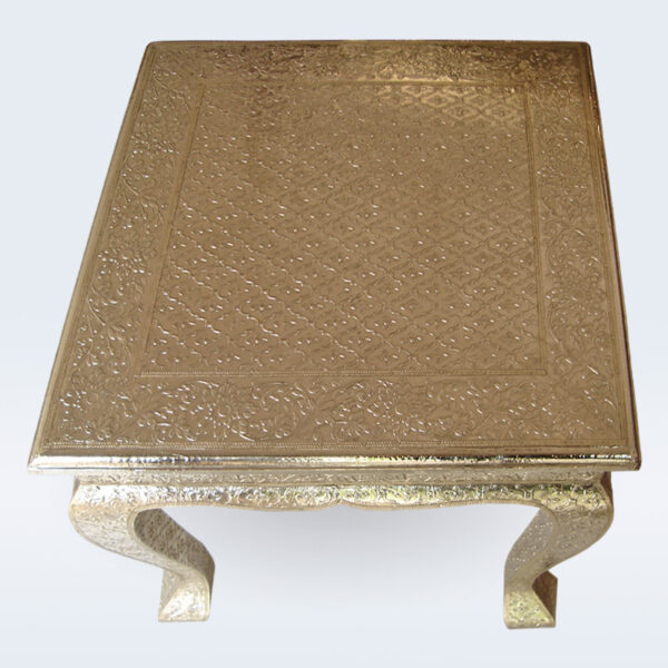 white metal embossed side table