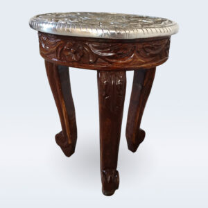 wooden white metal top stool